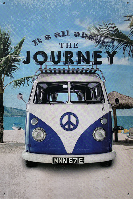 Retro metalen bord vlak - It's all about the journey