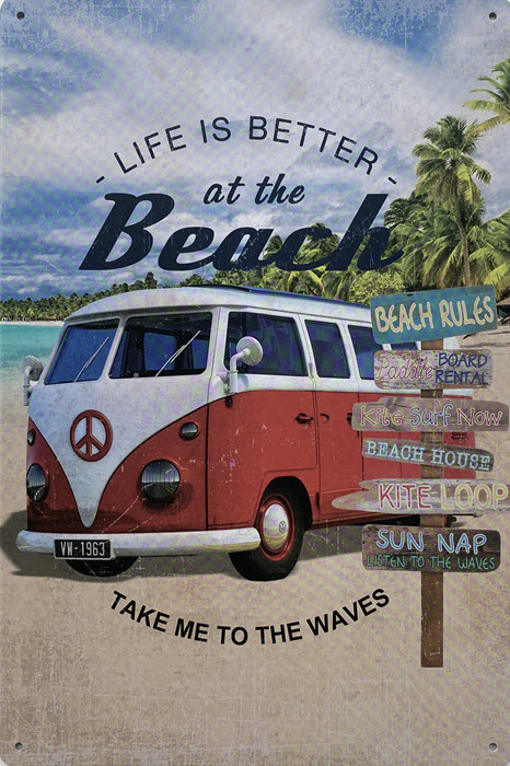 Retro metalen bord vlak - Life is better at the beach