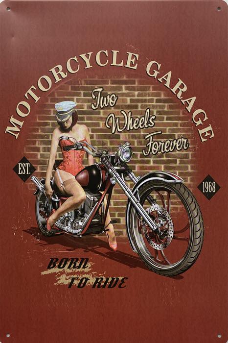 Retro metalen bord vlak - Motorcycle garage