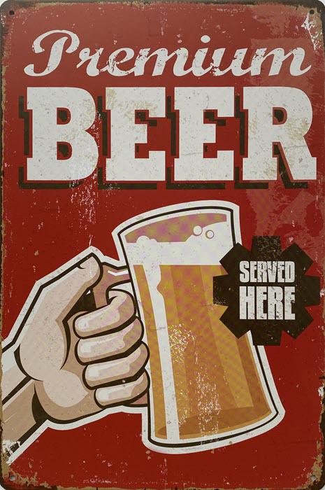 Retro metalen bord vlak - Premium beer