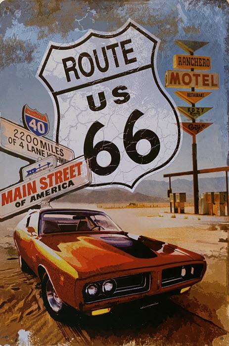 Retro metalen bord vlak - Route US 66