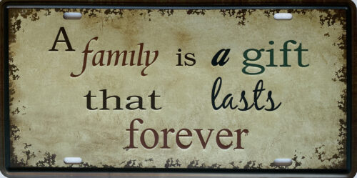 Retro metalen bord nummerplaat - A family is a gift