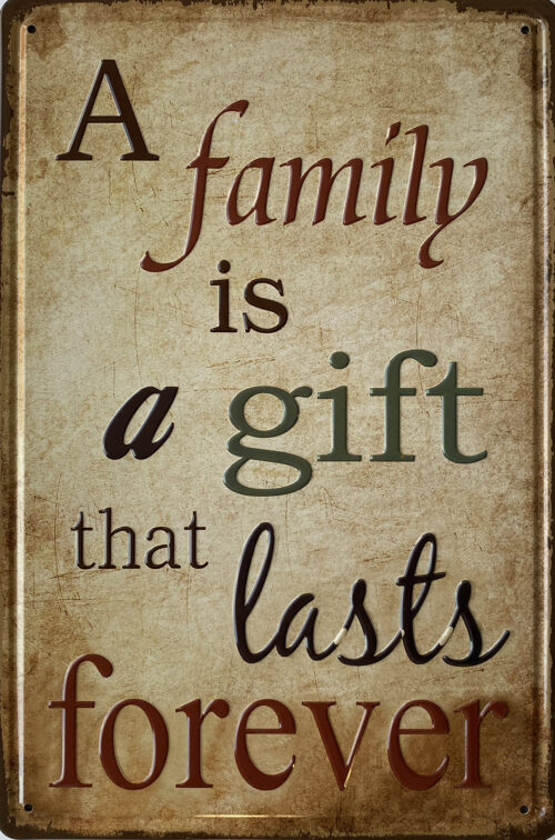 Retro metalen bord reliëf - A family is a gift
