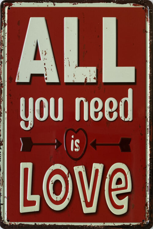 Retro metalen bord reliëf - All you need is love