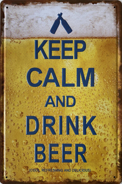 Retro metalen bord reliëf - Keep calm and drink beer