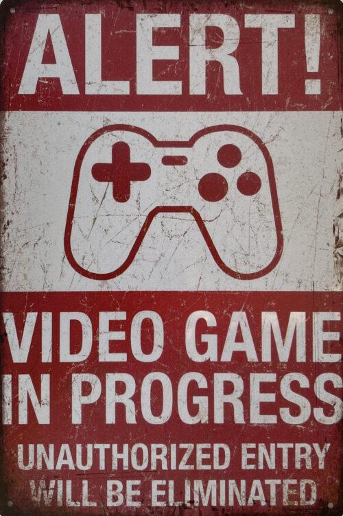 Retro metalen bord vlak - Alert video game in progress