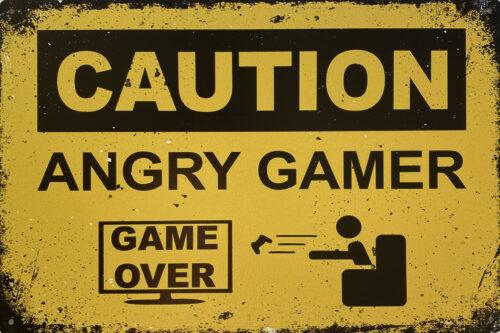 Retro metalen bord vlak - Caution angry gamer