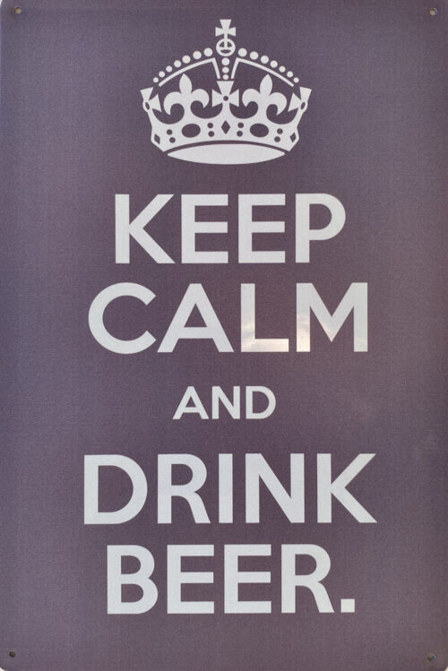 Retro metalen bord vlak - Keep calm and drink beer