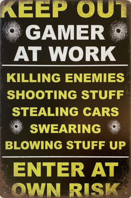 Retro metalen bord vlak - Keep out gamer at work