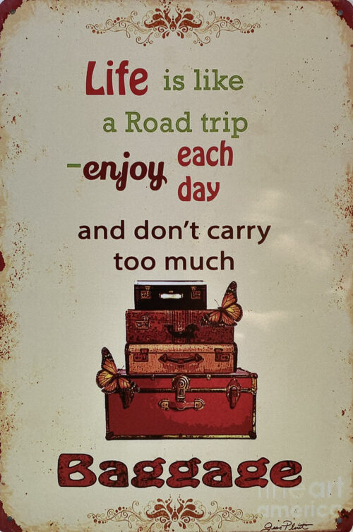 Retro metalen bord vlak - Life is like a road trip