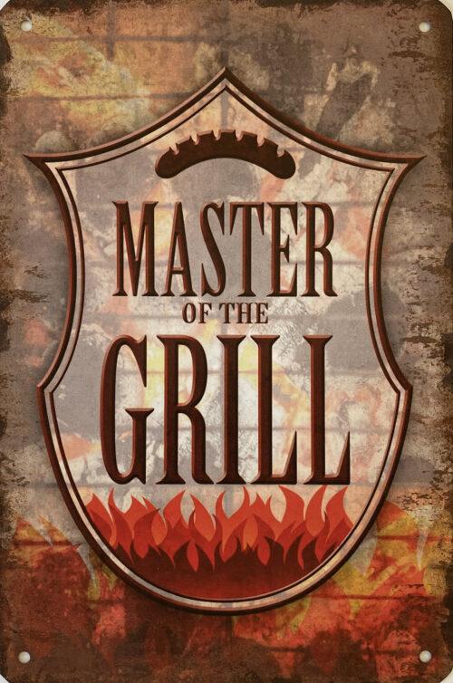 Retro metalen bord vlak - Master of the grill