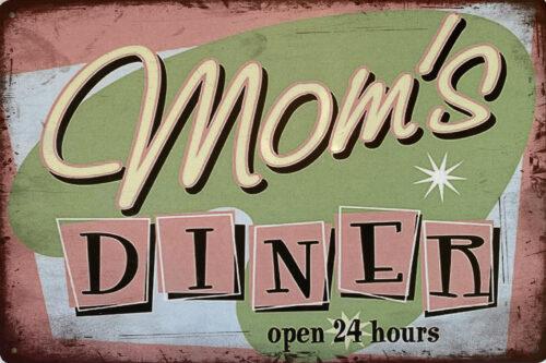 Retro metalen bord vlak - Mom's diner