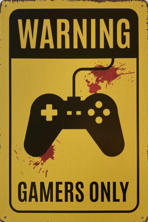Retro metalen bord vlak - Warning gamers only